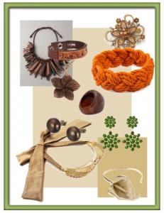Voorbeelden voor passende sieraden bij een garderobe in herfsttinten.