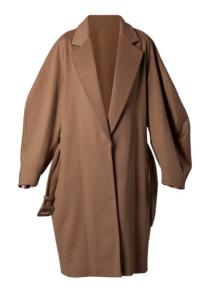 Wide, oversized camel coat