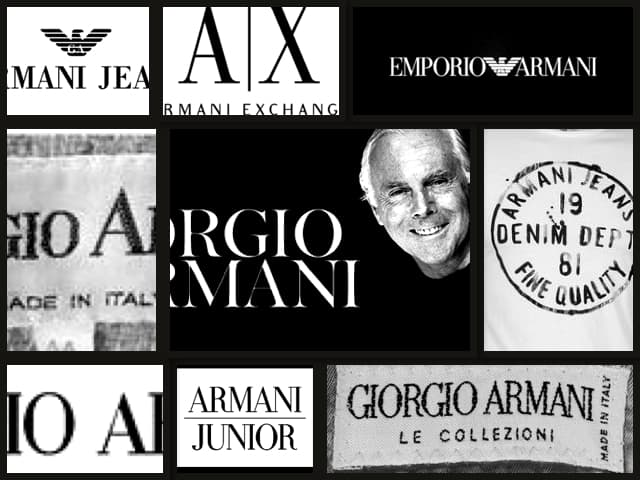 Giorgio Armani, Armani Jeans, Armani Privé, Armani Exchange, Armani Junior, Armani Le Collezioni