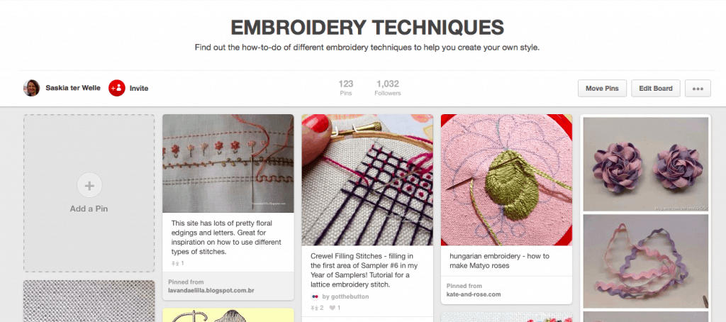 Pinterest Board Embroidery Techniques
