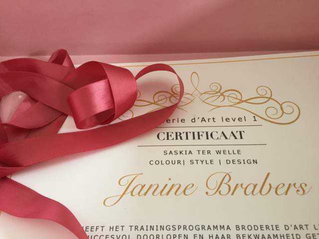 Certificate 'Mastering Broderie d'art level 1', student of Saskia ter Welle, #broderiedart #tambourembroidery