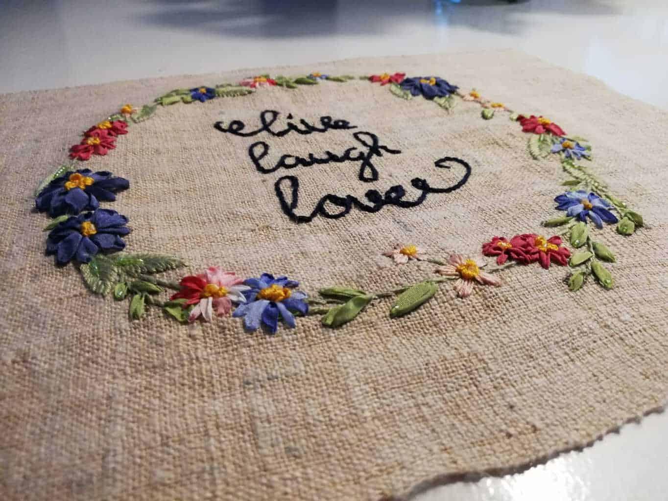 Bloemenkrans zijdelint borduren-4