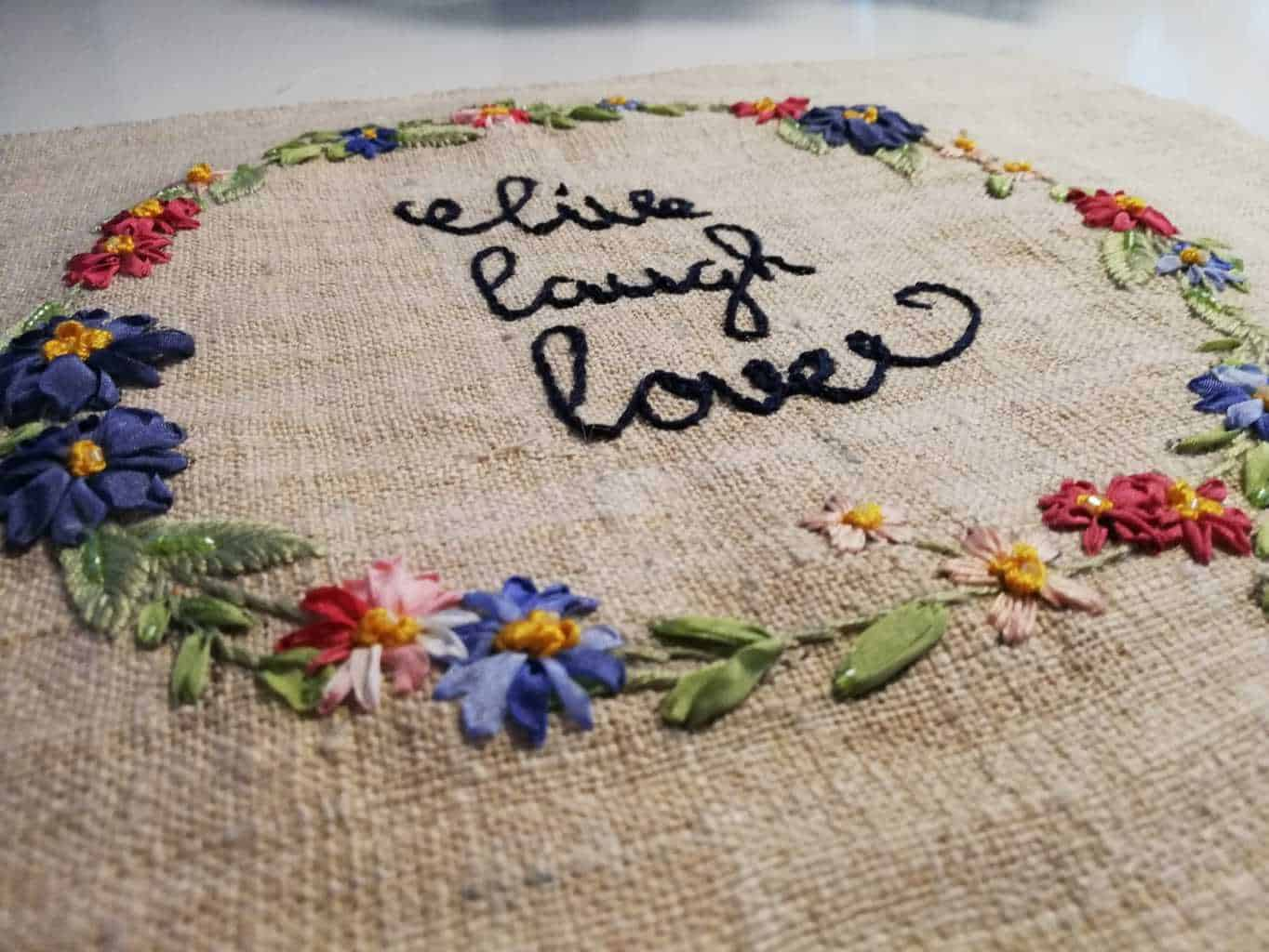 Bloemenkrans zijdelint borduren-1