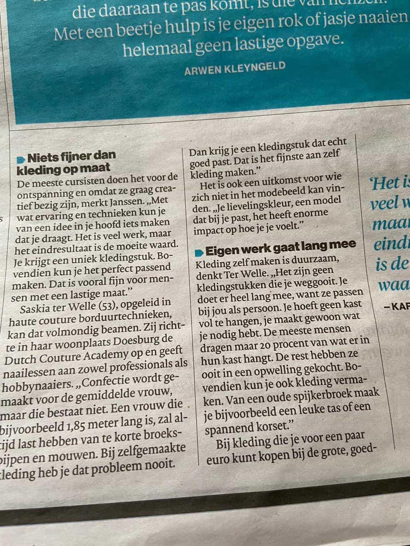 zelf mode maken duurzaam en voldoening schenkend, aldus Saskia ter Welle, interview Algemeen Dagblad