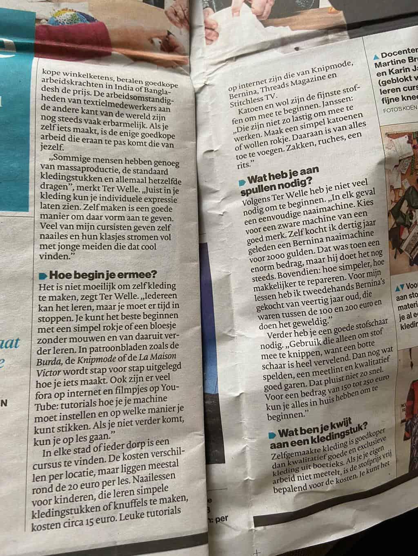 Zelf kleding maken, Saskia ter Welle, Made by Me, krantenartikel