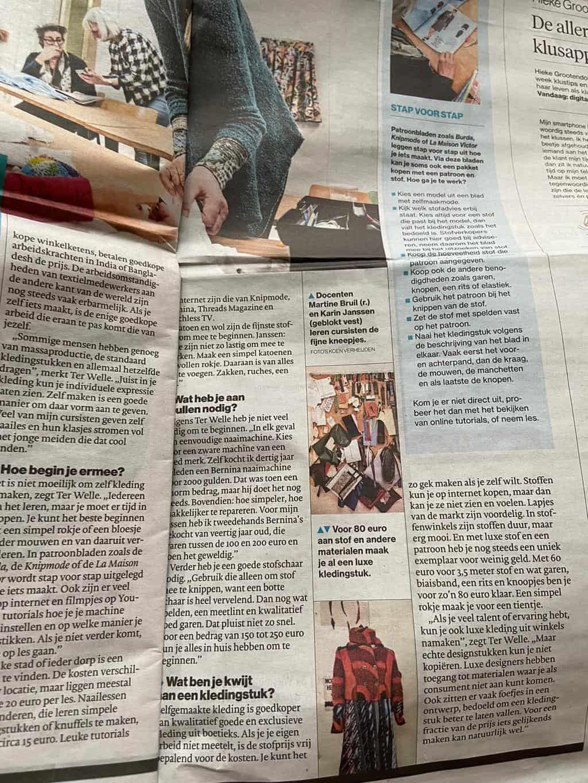 Zelf kleding maken, Made by Me, Saskia ter Welle, krantenartikel